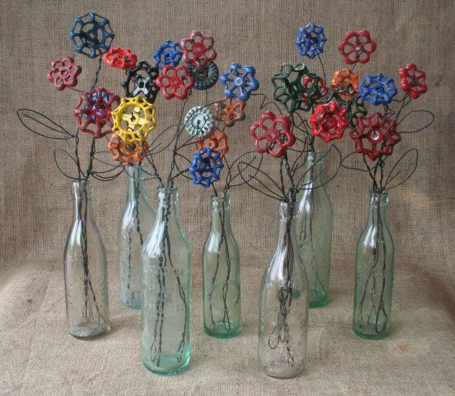 funky faucet handle flowers - great reuse!