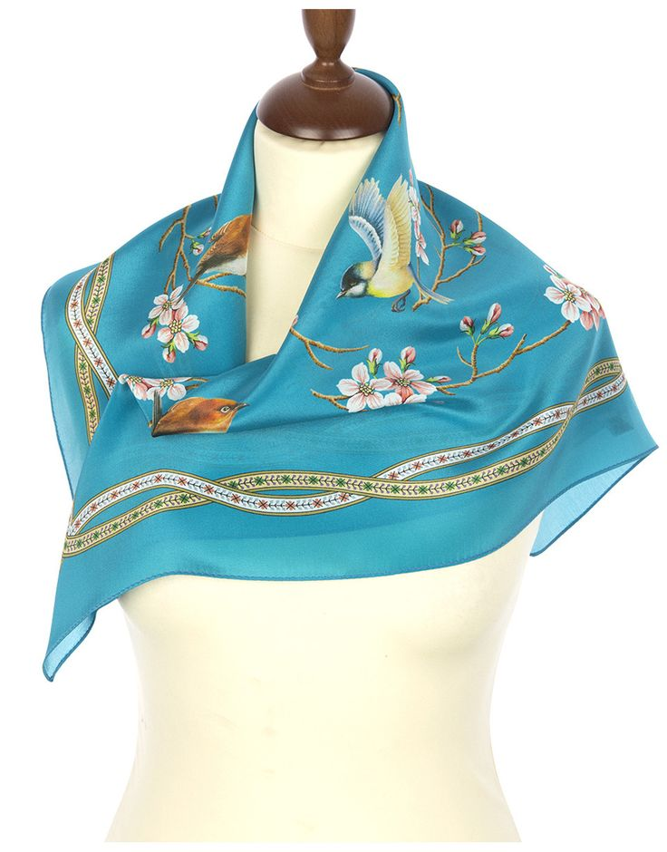 Blue Silk scarf ''Ringing Morning'' | RusClothing.com #blue #silk #scarf