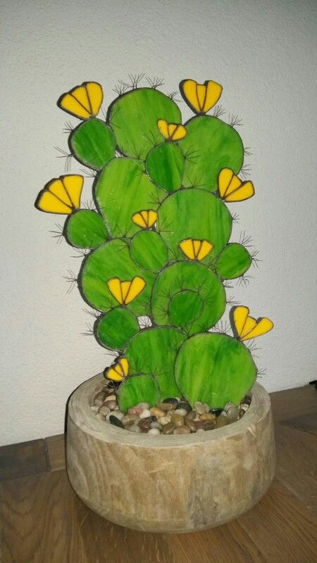 Cactus stained glass sculpture