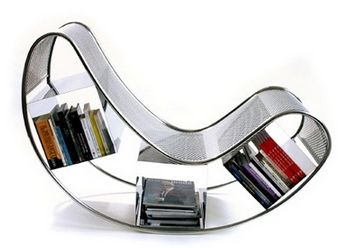 Dondola, A Stylish Stainless Steel Rocking Chair Bookshelf.