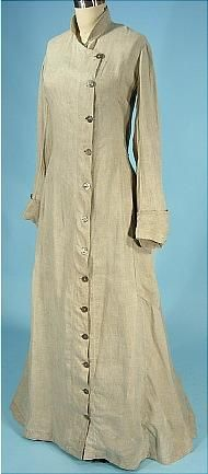 Does anyone else see a really great clerical robe pattern in this? c. 1908 Light Gray Linen Duster Motor Coat.