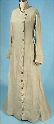 c. 1908 Light Gray Linen Duster Motor Coat