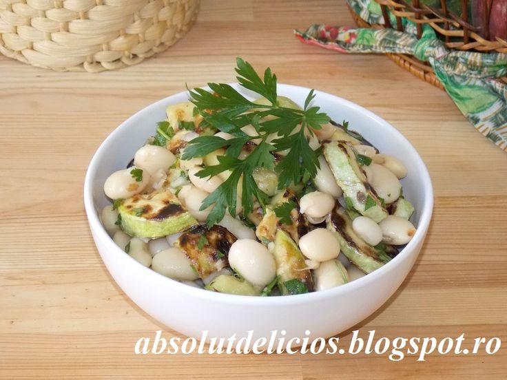 Salata de fasole boabe cu dovlecei, salata cu dovlecei ,prajiti, salata cu dovlecei si usturoi