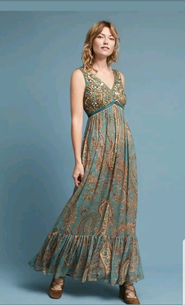 19e17a36bcd New Anthropologie Ranna Gill Paisley Green Maxi Dress Beaded Sequin Size 0   228  fashion  clothing  shoes  accessories  womensclothing  dresses (ebay  link)