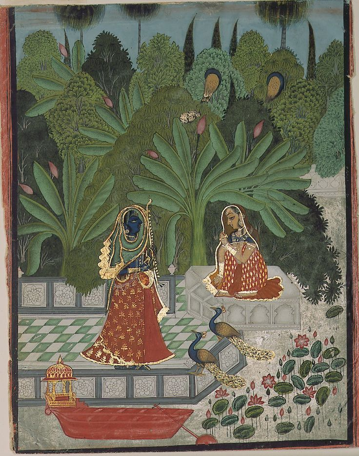 Dressed as a woman Krishna uses a ruse to fool Radha into meeting him. ragamala by Bhoya, 1781 India