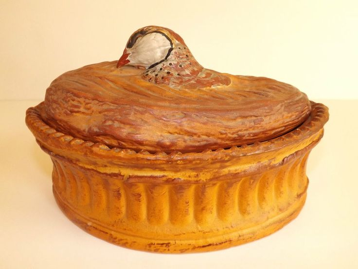 Old French Pillivuyt Pottery Game Bird Pie Crust Tureen Unmarked