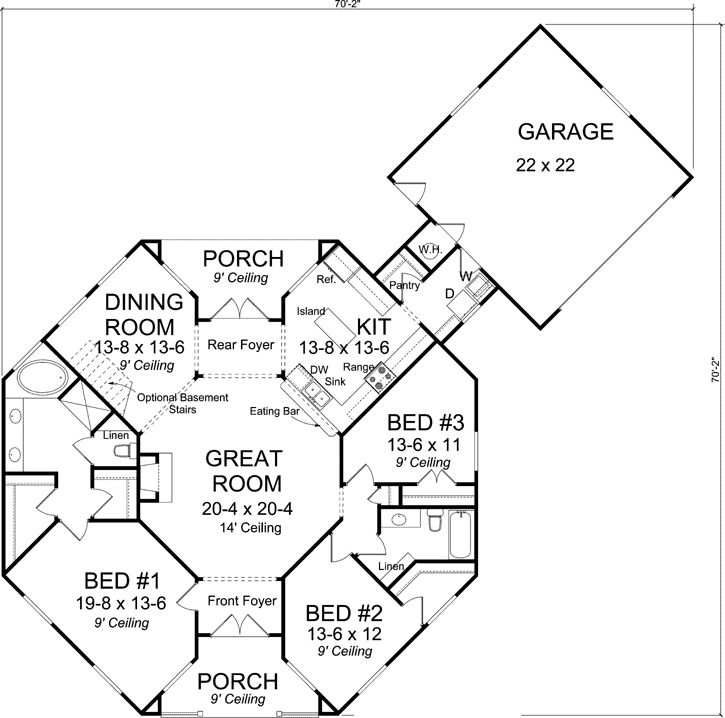 2 Story Octagon House Plans | Style House Plans - 1793 Square Foot Home, 1 Story, 3 Bedroom and 2 ...