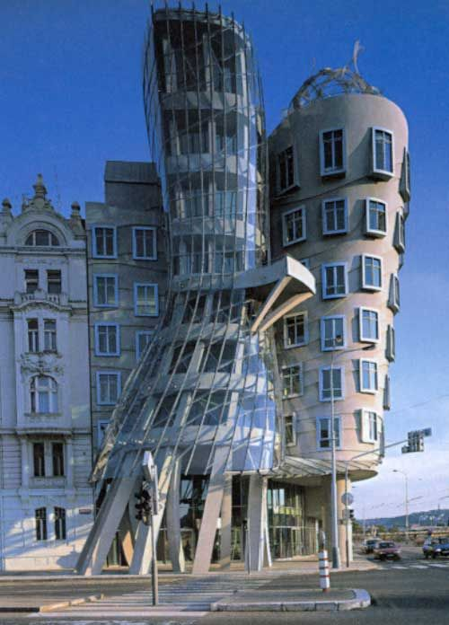 The Dancing House (Czech: Tančící dům) or Ginger & Fred is the nickname given to the Nationale-Nederlanden building in downtown Prague, Czech Republic at Rašínovo nábřeží (Rašín's riverbank). It was designed by Croatian-Czech architect Vlado Milunić in co-operation with renowned Canadian-American architect Frank Gehry on a vacant riverfront plot. The building was designed in 1992 and completed in 1996.