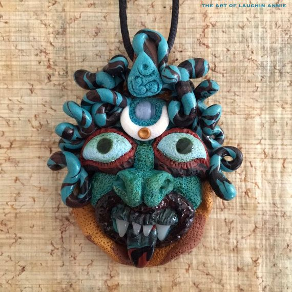 Medusa Gorgon Doll Head Pendant with Agate by theartoflaughinannie