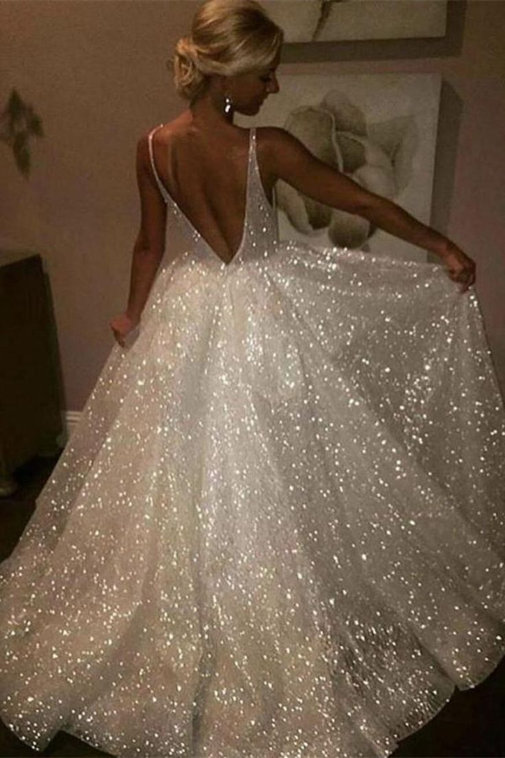 Pretty Long Ivory Sequin Shiny Lace Long Prom Dresses Wedding Dresses US$ 219.00 KKPHCJSTJS