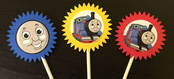 Thomas the Train Cupcake Toppers (12), Thomas cake topper, Thomas birthday, Thomas party, Thomas decoration, Thomas by LittleSumpinSweet on Etsy https://www.etsy.com/listing/493328237/thomas-the-train-cupcake-toppers-12