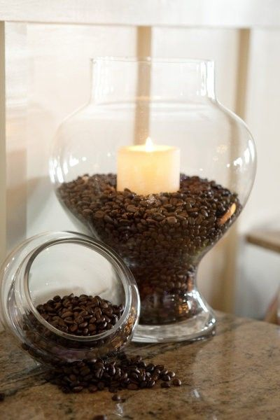 coffee beans and vanilla candles...instant heavenly aroma. Want to try this... cool idea, looks pretty too