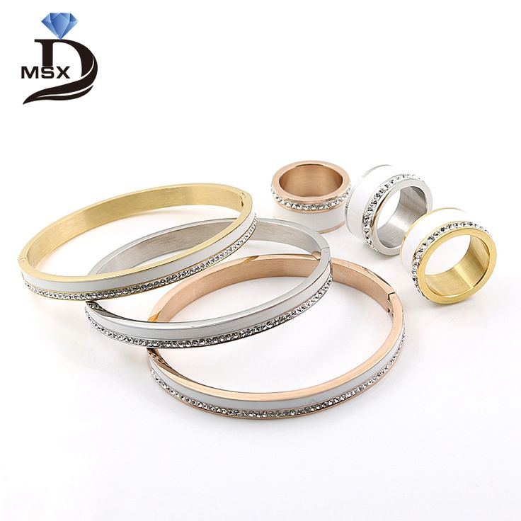 Find More Jewelry Sets Information about Ceramic Jewelry Set Stainless Steel Wedding Trendy Bridal 18k Rose Gold Crystal Rhinestone Female Bangle Ring Set For Women,High Quality ring settings silver,China set step Suppliers, Cheap ring pillow set from JINHUI on Aliexpress.com