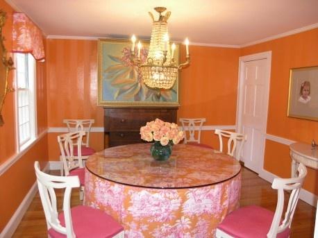 Warm Orange Dining Room Paint Ideas | Wall orange dining room color