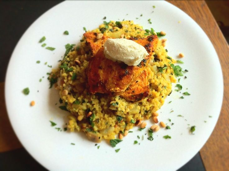 Moroccan Spiced Chicken, Bulgur Wheat Pilaf and Pecorino Ice Cream