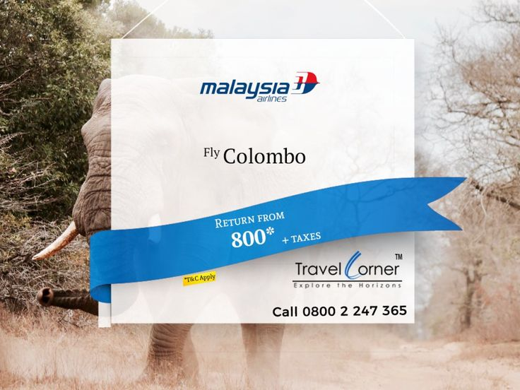 Massive sale by Malaysia Airlines to Colombo... Explore Srilanka on Cheapest Rate.. Call now 0800 2 247 365 or or Book online Travel Dates: 01 Mar 18 to 31 Aug 18 Sales Expiry 16 Feb 18