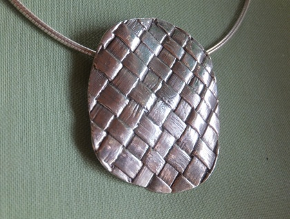 Sterling Flax Weave Pendant on Sterling Omega