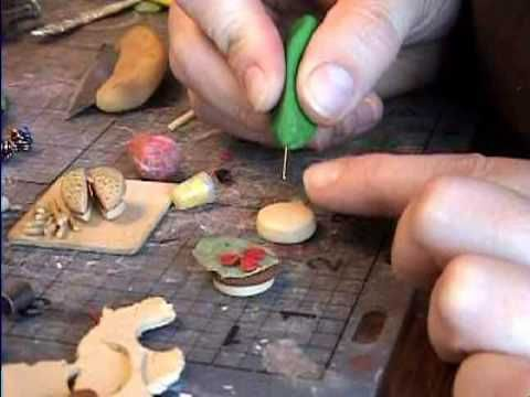 Hamburger How to Make from Polymer Clay a miniature dollhouse food. By Garden of Imagination - YouTube