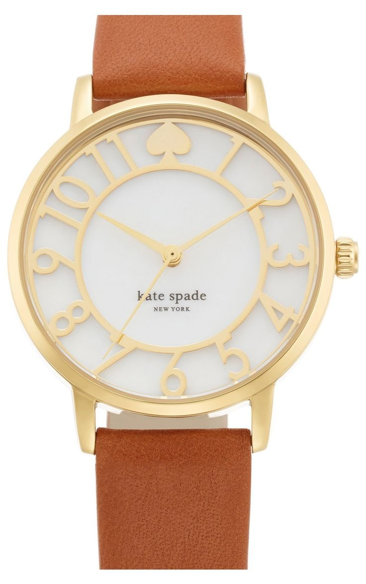 The brown leather strap on this Kate Spade watch makes it so timeless.