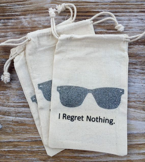 10 silver glitter sunglasses hangover kit bags, groomsman hangover kits, hangover bags, I regret nothing bags