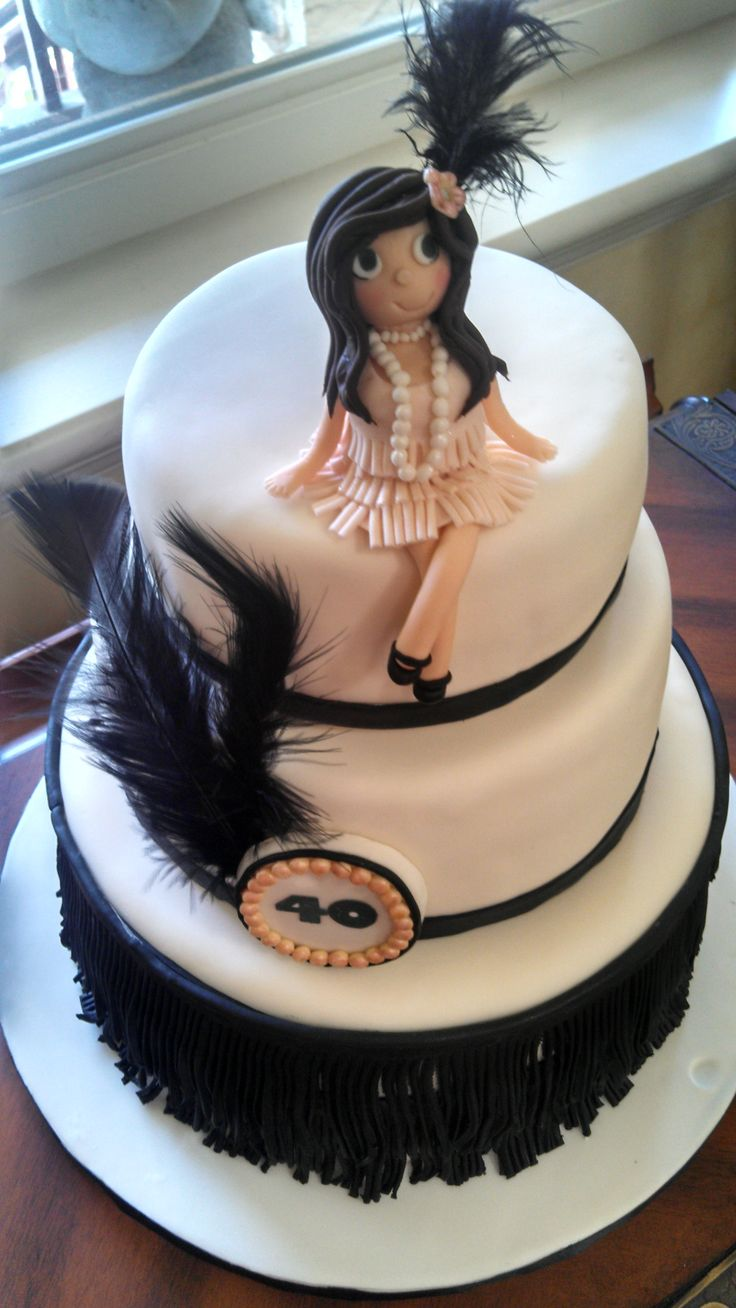 Roaring 20's Birthday Cake - Roaring 20's Cake Three tier Chocolate cake, covered in fondant with fondant fringe, girl and decorations, real feathers.