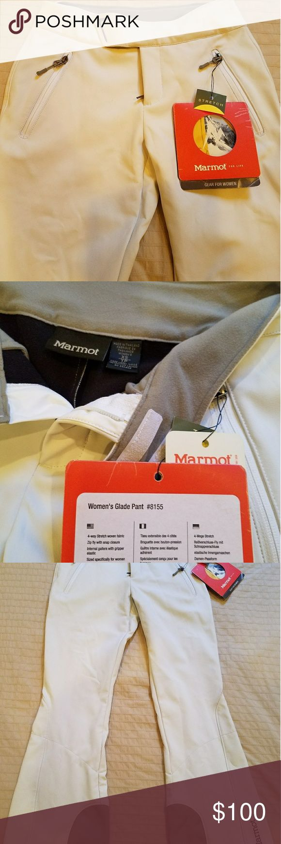 Marmot glade ski women's pants white XS Marmot glade ski women's pants white XS. New w/tags. A little dirty from being in my car, nothing a wash can't take care of. Open to make offers. Marmot Pants Trousers