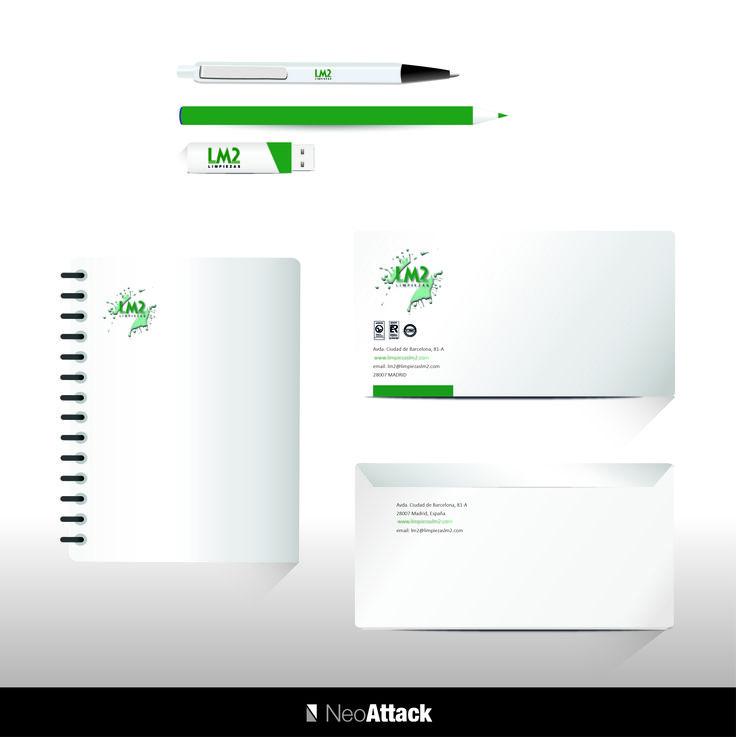Diseño de identidad corporativa (boligrafos, lapiceros, pen drive, cuadernos y sobres) a la empresa de limpiezas LM2. Realizado por NeoAttack
