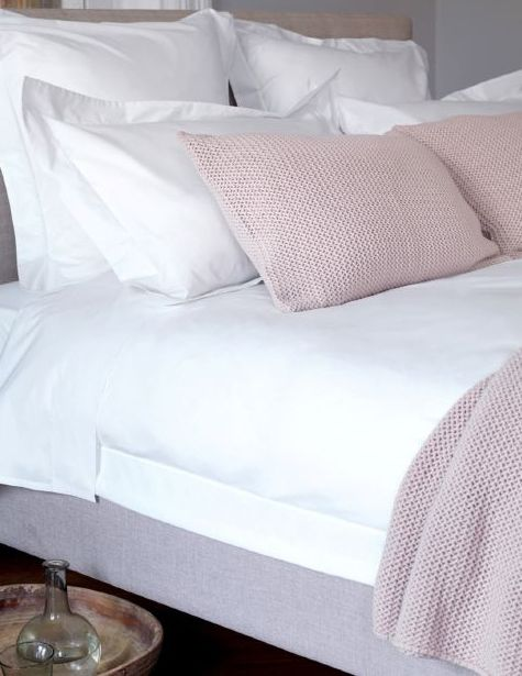 White Embroidered Percale 400TC Bedding Set From £18  Secret Linen Store