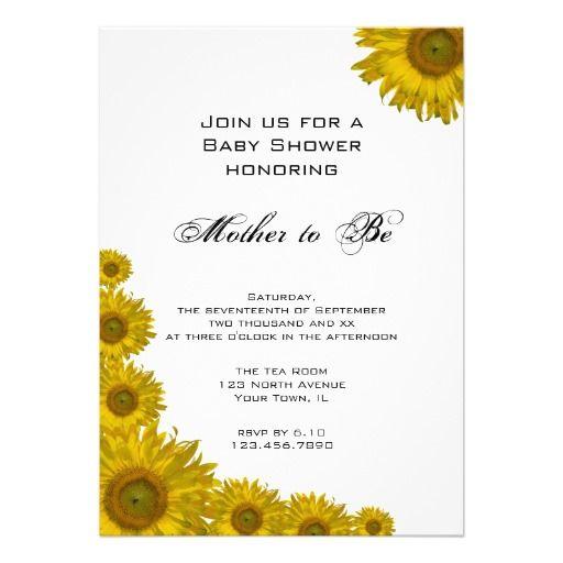 sunflower edge baby shower invitation