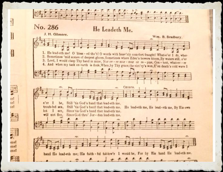 """Gospel Songbook 5:  Old church hymnal with yellowing pages, open to """"He Leadeth Me"""", with ragged frame.  Image size 1650 x 1275px (300ppi); prints at 5.5 x 4.25""""."""