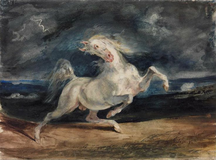 Delacroix, E. 1829, Horse frightened by lightning, Google Art Project, viewed 31 March 2014, .