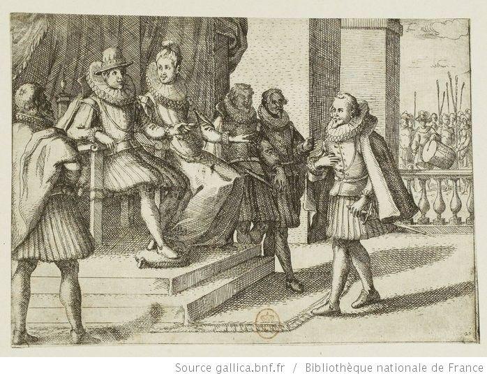 [Pompes funèbres de la reine d'Espagne]. [10], [Le roi d'Espagne sur le conseil de la reine Marguerite envoie du secours en Hongrie contre les Turcs] : [estampe] / [Jacques Callot] - 1