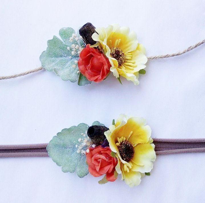 newborn tieback - baby headband  -  Australian Tropical Tieback / Stretch headband