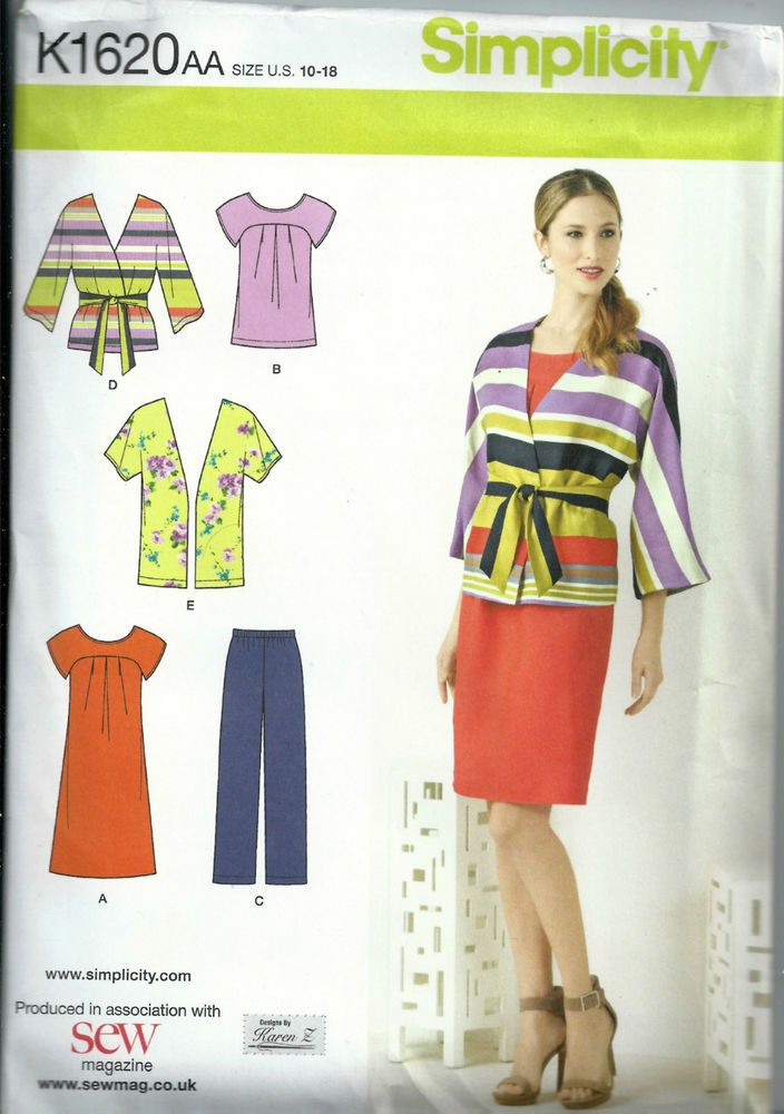 Simplicity Sewing Pattern  K1620AA  US Size 10-18 Dress, Trousers etc