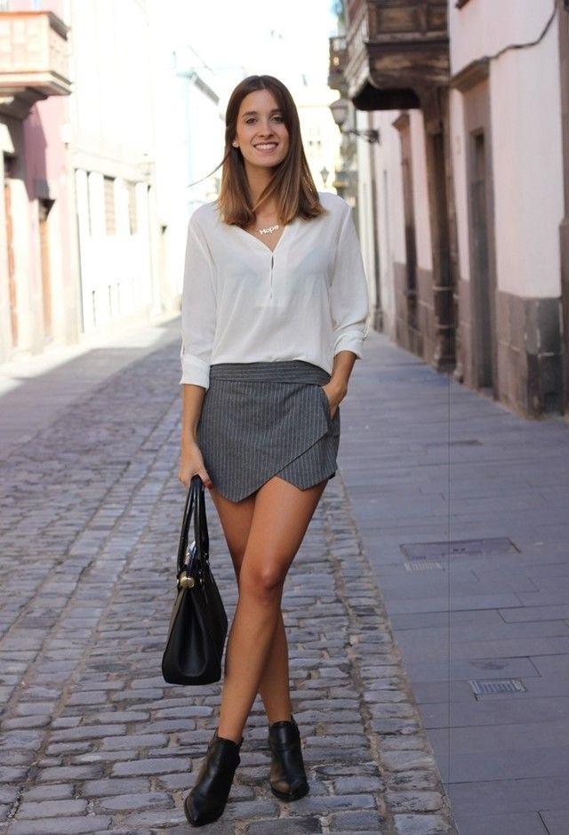 @roressclothes clothing ideas #women fashion white blouse, gray skirt, black shoes