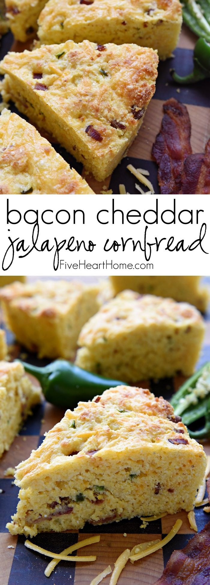 Bacon Cheddar Jalapeño Cornbread ~ moist, tender, and loaded with extra flavor from crispy bacon, gooey cheese, and spicy jalapeño, making it the perfect accompaniment for all of your favorite soups, stews, and chilis! | FiveHeartHome.com