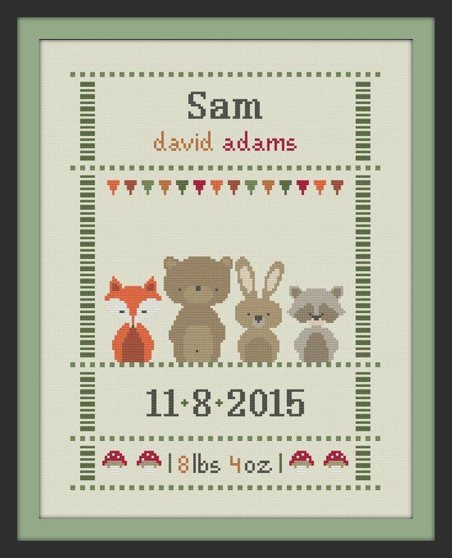 cross stitch baby birth sampler birth announcement by Happinesst