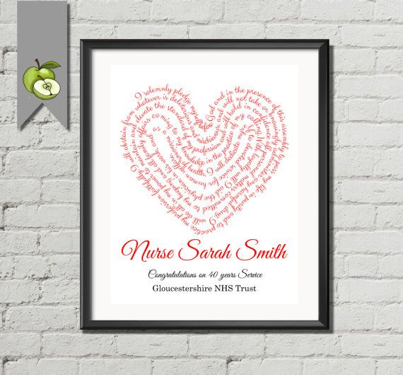 Nurse appreciation week word art heart nurse gift Florence