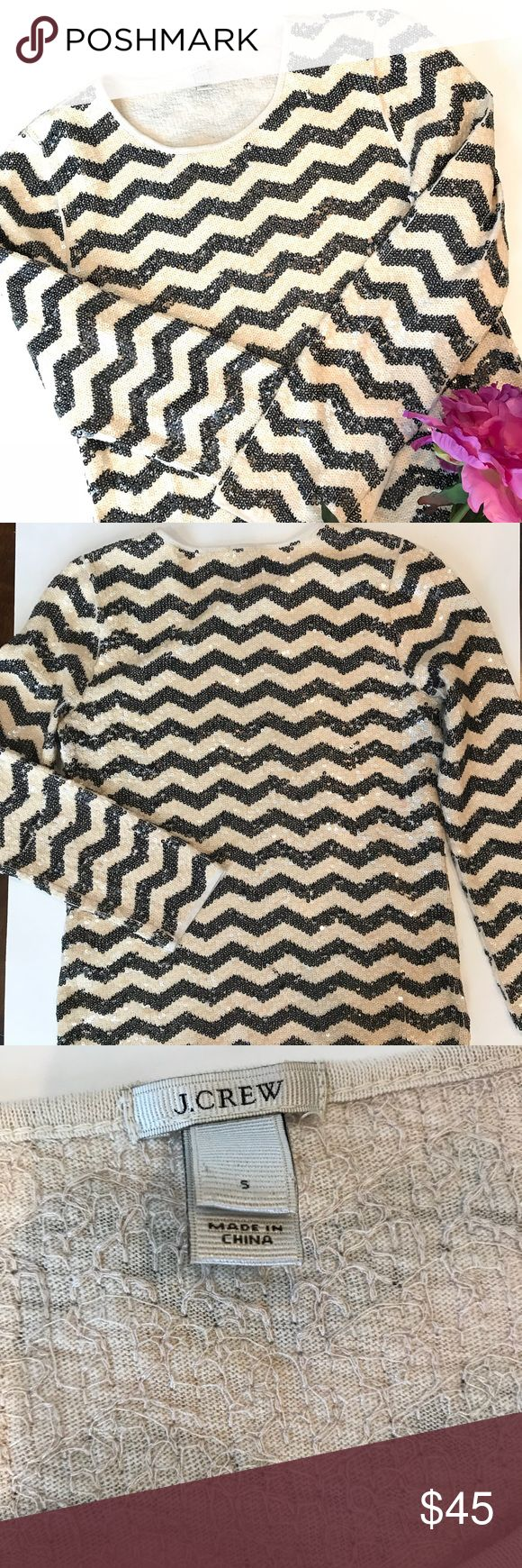 "J. Crew Sequined Chevron Top There is a sequin Missing (pictured).   Otherwise perfect condition.   Measures 16.5 armpit to armpit and 23"" shoulder to hem  Smoke free, pet friendly home.   All offers always considered or bundle your likes for a discount 👗 J. Crew Tops"