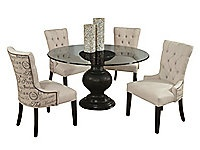 Serena glass top table with 4 Script side chairs