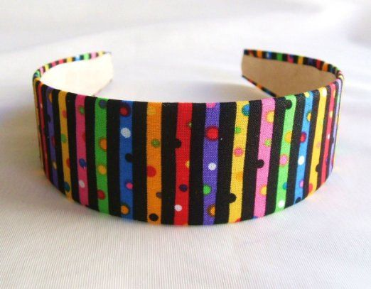Headband in cotton fabric Lorenza Strips, multi color headband, wide headband, versatile headband, in handmade headbands, gift by FunPrintsColorado on Etsy