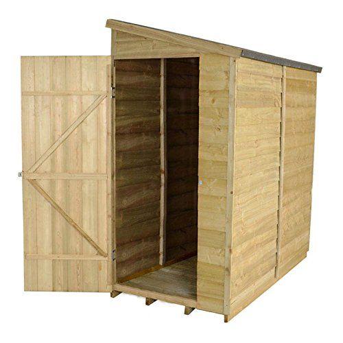 garden shed 6 x 3 overlap pressure treated single door pent roof felt mainland uk delivery