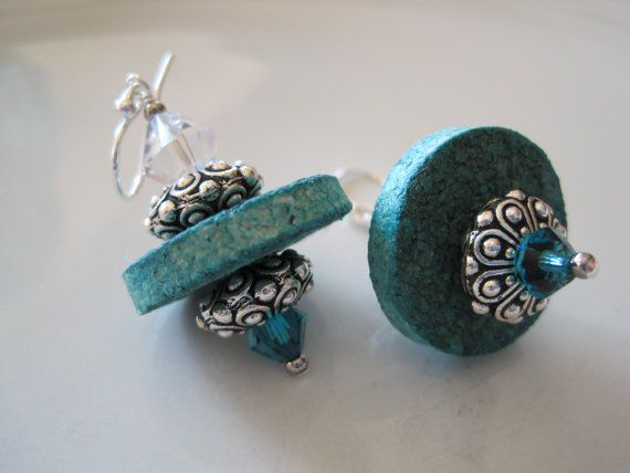 Cork Upcycled Earrings with Swarovski Crystals, Silver Accents in Turquoise Blue - Bella Earrings. $18.00, via Etsy. love it! must try! #ecrafty