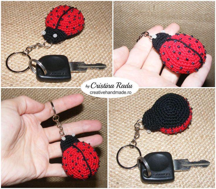 Ladybug keychain, toy keychain, ladybug accessories, charm bag, small ladybug for your keys, crochet ladybug, tiny ladybug, little ladybug - pinned by pin4etsy.com