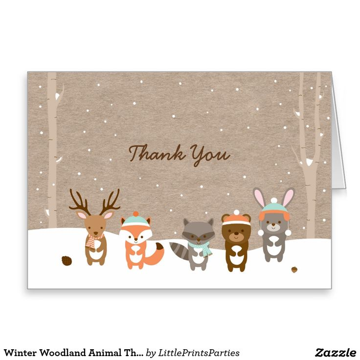 Winter Woodland Animal Baby Shower Thank You Cards
