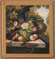 Monkey In Still Life I Belgian Wall Tapestry W-5329, 30-39Inchestall, 30-39Incheswide, 37W, 39H, Belgian, Border, Floral, Flowers, Fruit, Gold, Grapes, Group, I, In, Life, Monkey, Square, Still, Tapestry, Wall, Yellow, Belgianwoven, Europeanwoven, tapestries, tapestrys, hangings, and, the