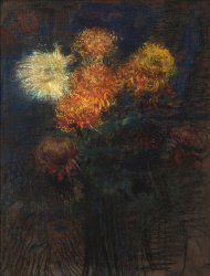 Leon Wyczółkowski, Chrysanthemums in a Vase, 1908, MOB W. 695