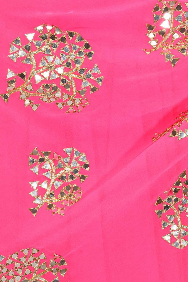 Hot pink foil work draped anarkali set available only at Pernia's Pop-Up Shop.