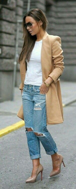A beige coat makes every outfit classy
