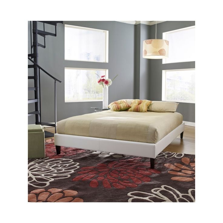 St. Paul Leather Platform Bed White (Queen) - Eco Dream